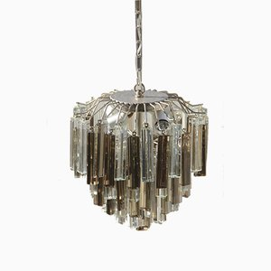 Black and Transparent Glass Chandelier from Venini, 1960s