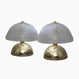 Lámparas de mesa italianas de latón dorado de Angelo Brotto, años 70. Juego de 2