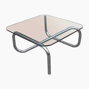 Mesa de centro italiana de acero tubular y vidrio, años 70