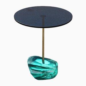 Tavolino da caffè in cristallo blu e verde di Effetto Vetro, anni '50