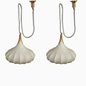 Mid-Century Italian Resin and Brass Pendant Lamp, 1960s, Set of 2