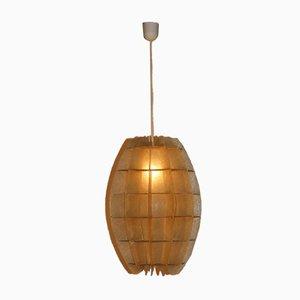 Lámpara colgante francesa de resina beige, años 60
