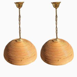 Lámparas colgantes italianas Mid-Century, años 50. Juego de 2