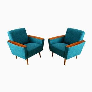 Fauteuils Turquoise, années 50, Set de 2