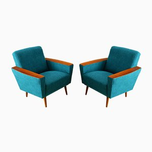 Turquoise Armchairs, 1950s, Set of 2
