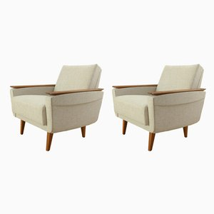 Cream Armchairs, 1950s, Set of 2