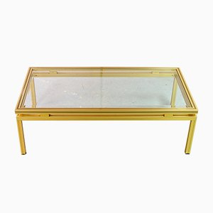 Mid-Century French Brass and Brushed Aluminum Coffee Table by Pierre Vandel, 1970s