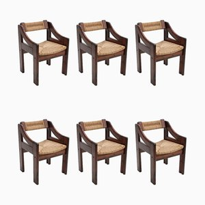 Italian Rope and Fir Dining Chairs from Montina, 1970s, Set of 6