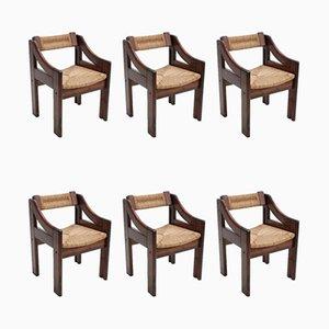 Italienische Esszimmerstühle aus Seilgeflecht & Tannenholz von Montina, 1970er, 6er Set