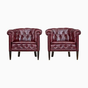 Mid-Century Red Leather Club Chairs, 1950s, Set of 2