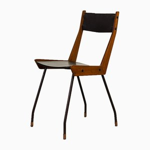 Mid-Century Italian Black Leatherette Dining Chair by Gianfranco Frattini for R&B Italia, 1950s