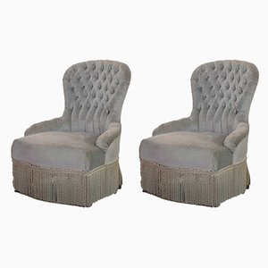 French Grayish Blue Velvet French Club Chairs, 1950s, Set of 2