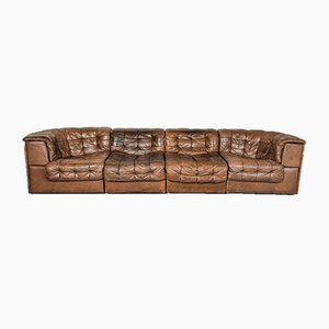 Mid-Century Chestnut Brown Leather Model DS11 Modular Sofa from de Sede