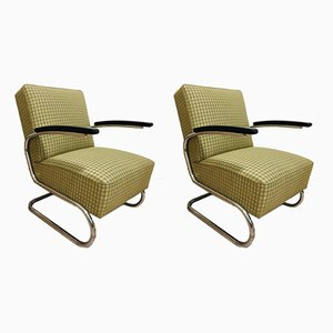 Vintage Model S411 Tubular Steel Armchairs by Willem Hendrik Gispen for Mücke Melder, Set of 2