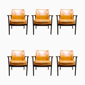 Scandinavian Leather Lounge Chairs by Ib Kofod Larsen for Froscher, 1950s, Set of 6