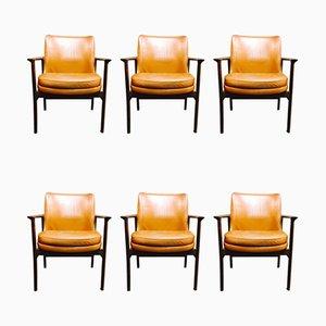 Stühle mit Lederbezug im skandinavischen Stil von Ib Kofod Larsen für Froscher, 1950er, 6er Set