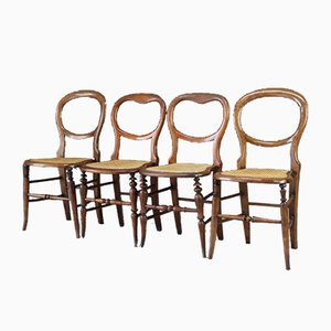 Antique Beech and Cane Balloon Back Chairs, Set of 4