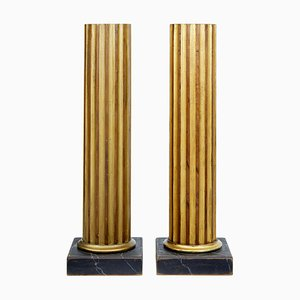 19th Century Gilt Column Pedestals, Set of 2