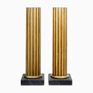 19th Century Gilt Column Pedestals, Set of 2