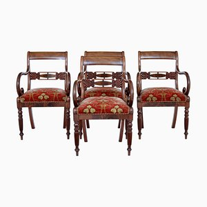 19th Century Danish Mahogany Armchairs, Set of 4