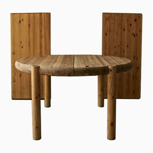 Extendable Soaped Pine Wood Dining Table by Rainer Daumiller, 1960s