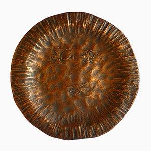 Italian Decorative Copper Plate from Bragalini, 1950s