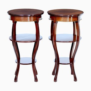 Mid-Century Mahogany Tiered Side Tables, 1950s, Set of 2