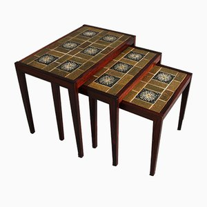 Danish Rosewood and Ceramic Nesting Tables, 1960s, Set of 3