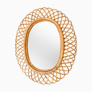Rattan-Framed Mirror, 1960s