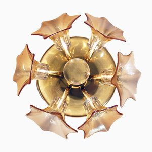 German Murano Glass and Brass Ceiling Lamp by Josef Simon & Josef Schelle for SiSche, 1960s