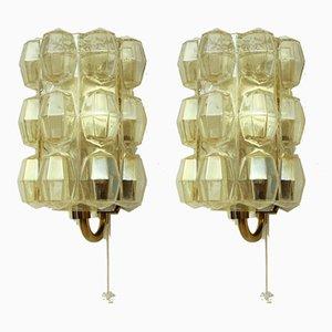 Apliques alemanes de vidrio y latón de Helena Tynell para Limburg, años 60. Juego de 2