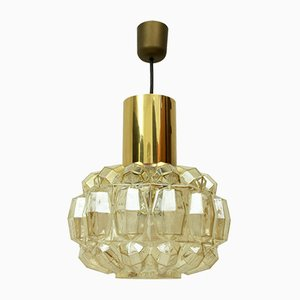German Brass and Glass Pendant Lamp by Helena Tynell for Limburg, 1960s