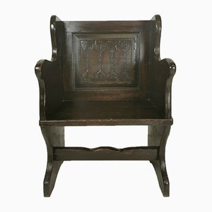 19th Century Victorian Carved Oak Chapel Church Pew