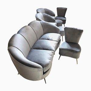 Gray Velvet Living Room Set by Gio Ponti, 1950s, Set of 7