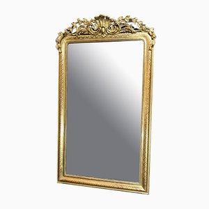 Espejo antiguo grande de madera dorada