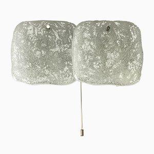 Wandleuchte aus Eisglas von Kalmar, 1960er