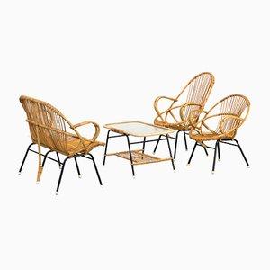 Fauteuils et Set de Table par Dirk van Sliedregt pour Gebr. Jonkers, années 60, Set de 4