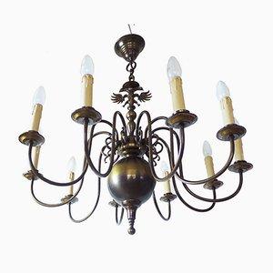 Lampadario grande in stile fiammingo rinascimentale in ottone, anni '50