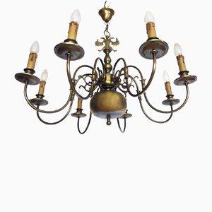 Large Renaissance Style Flemish Brass Chandelier, 1950s