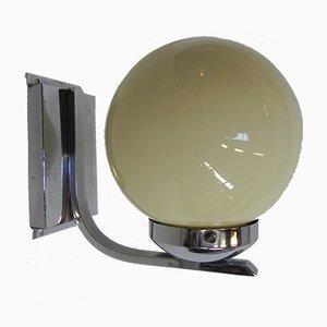 Lámpara de pared Art Déco con globo de vidrio, años 30