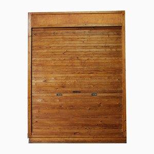 Large Scandinavian Pinewood Tambour Cabinet, 1960s