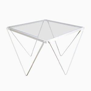 Mesa auxiliar Mid-Century de metal blanco y vidrio, años 50