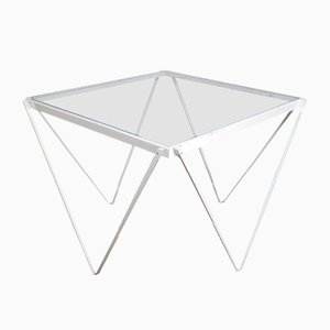 Mid-Century White Metal and Glass Side Table, 1950s