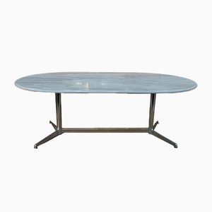 Marble and Chromed Metal Dining Table, 1970s
