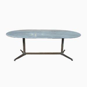 Mesa de comedor de mármol y metal cromado, años 70