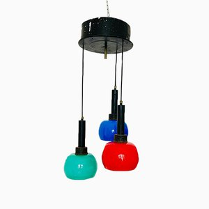 Mid-Century Glass and Metal Ceiling Lamp from Stilnovo