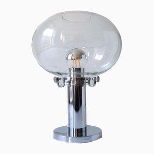 Schweizer Mid-Century Tischlampe aus Glas & Chrom, 1970er