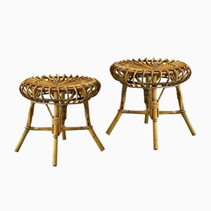 Bamboo Stools, 1970s, Set of 2