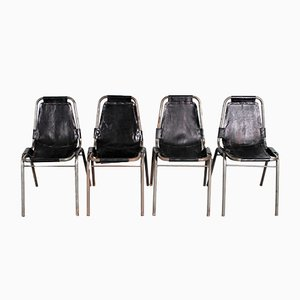 Black Leather Dining Chairs by Charlotte Perriand, 1960s, Set of 4