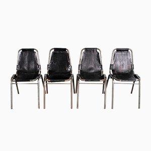 Esszimmerstühle mit schwarzen Lederbezügen von Charlotte Perriand, 1960er, 4er Set